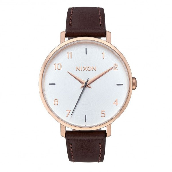 NIXON PULKSTENIS ARROW LEATHER ROSE GOLD SILVER