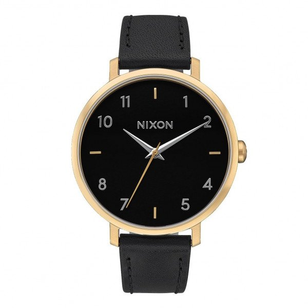 NIXON PULKSTENIS ARROW LEATHER GOLD BLACK