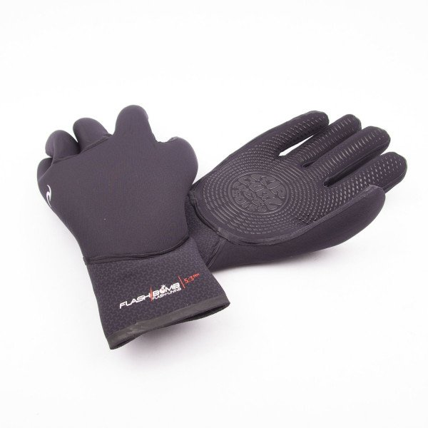 RIP CURL CIMDI FLASH BOMB 5/3  5 FINGER GLOVE BLACK