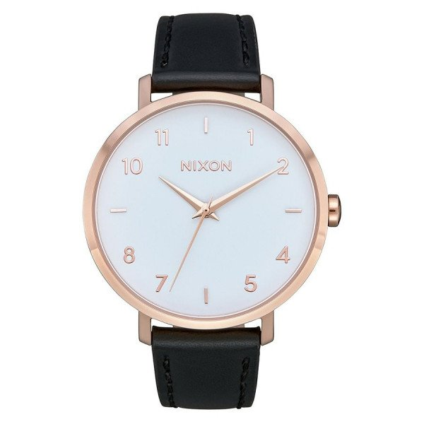 NIXON PULKSTENIS ARROW LEATHER ROSE GOLD WHITE BLACK