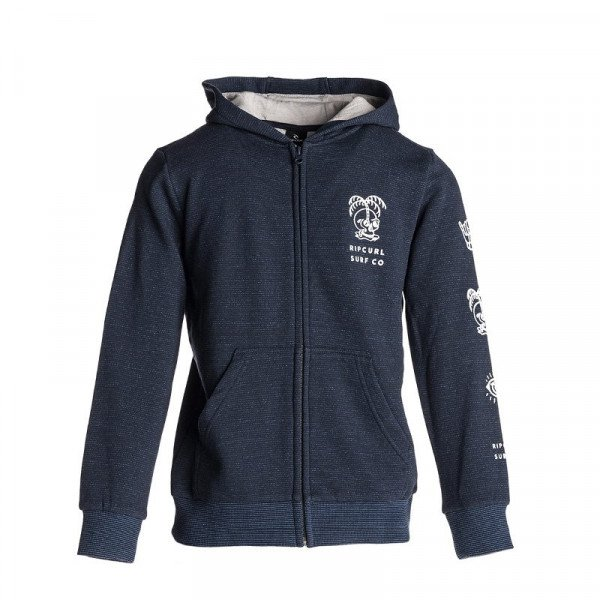 RIP CURL ZIP-HOOD SURF CO SKULL KIDS NAVY F18