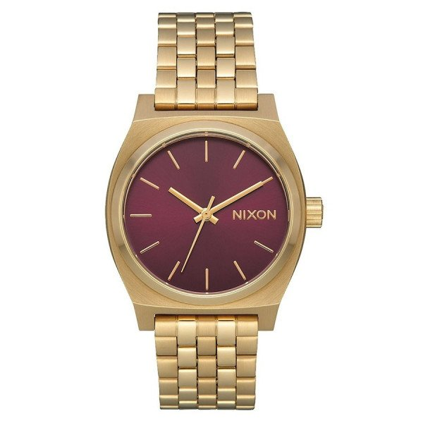 NIXON PULKSTENIS MEDIUM TIME TELLER LIGHT GOLD BORDEAUX SUNR