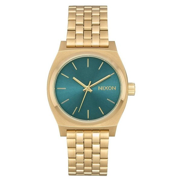 NIXON WATCH MEDIUM TIME TELLER LIGHT GOLD TURQUOISE