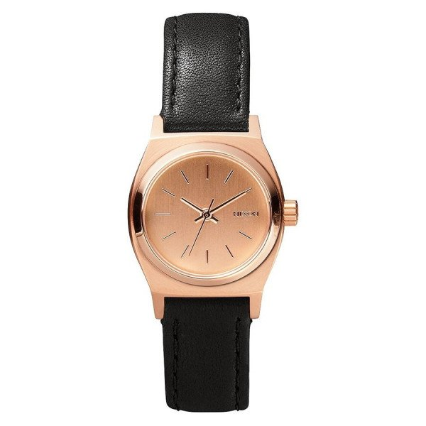 NIXON PULKSTENIS SMALL TIME TELLER LEATHER ALL ROSE GOLD BLACK