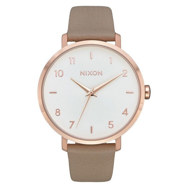 NIXON WATCH ARROW LEATHER ROSE GOLD GRAY