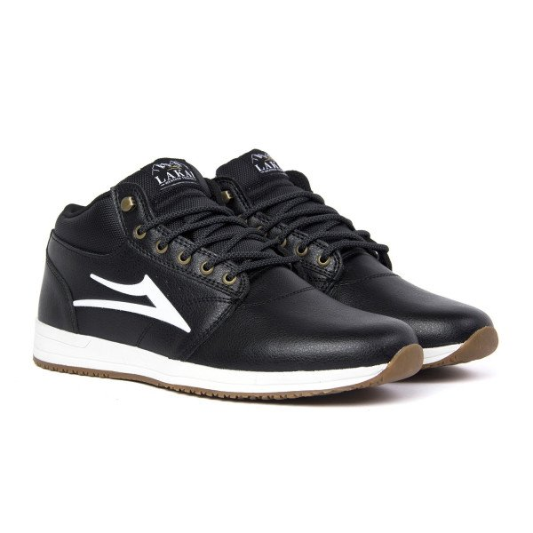 LAKAI APAVI GRIFFIN MID BLACK LEATHER F18