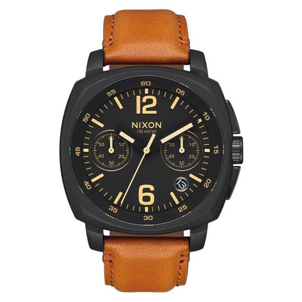 NIXON WATCH CHARGER CHRONO LEATHER ALL BLACK LIGHT BROWN