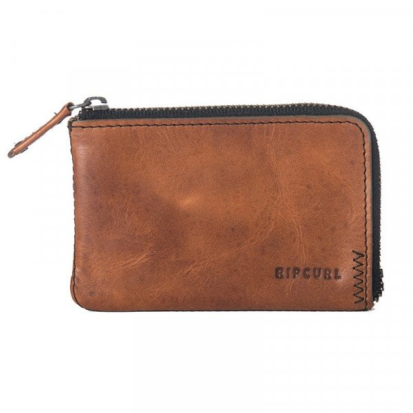 RIP CURL WALLET HANDCRAFTED ZIP COIN SLIM BROWN S20