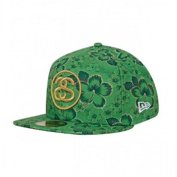 STUSSY CEPURE GOLD FLAKE NEW ERA HAT GREEN SP14