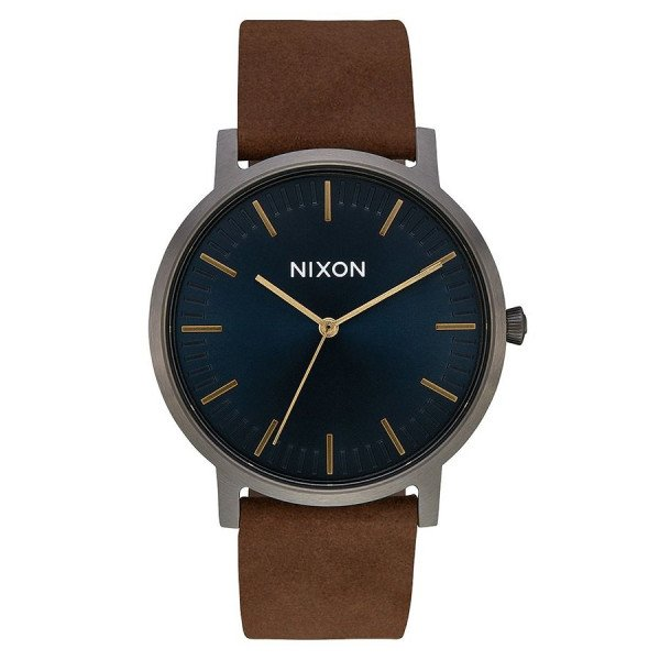 NIXON WATCH PORTER LEATHER GUNMETAL INDIGO BROWN