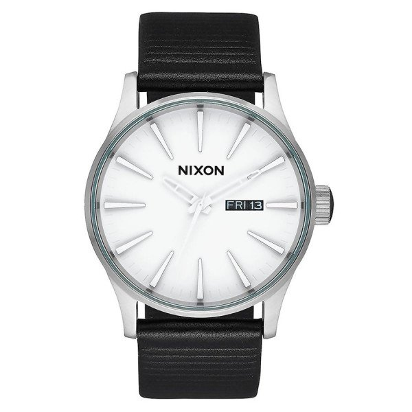 NIXON PULKSTENIS SENTRY LEATHER WHITE SILVER BLACK