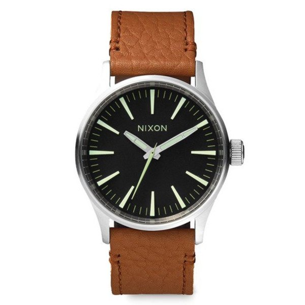 NIXON WATCH SENTRY 38 LEATHER BLACK SADDLE