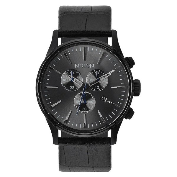 NIXON PULKSTENIS SENTRY CHRONO LEATHER BLACK