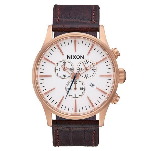 NIXON PULKSTENIS SENTRY CHRONO LEATHER ROSE GOLD BROWN GAT