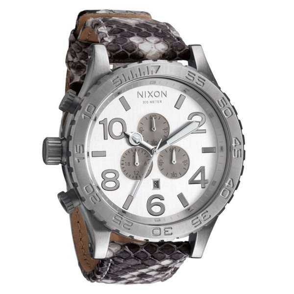 NIXON PULKSTENIS 51-30 CHRONO LEATHER WHITE SNAKE