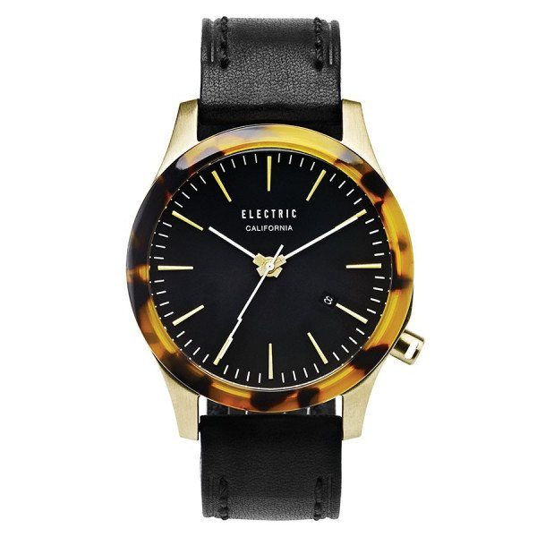 ELECTRIC PULKSTENIS FW03 LEATHER GOLD TORT BLACK