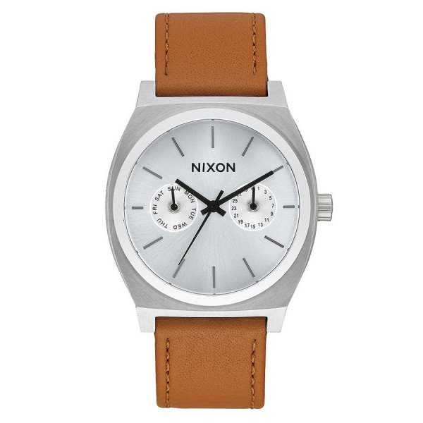 NIXON PULKSTENIS TIME TELLER DELUXE LEATHER SILVER SUNRAY SAD