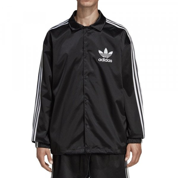 ADIDAS JACKET SATIN COACH BLACK WHITE S19
