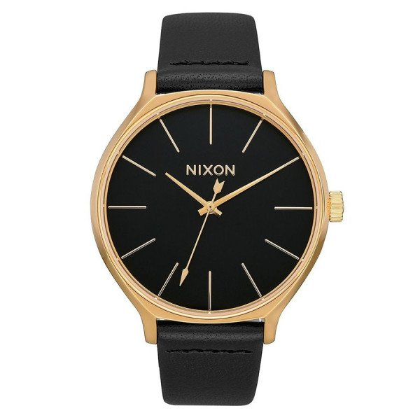NIXON PULKSTENIS CLIQUE LEATHER GOLD BLACK
