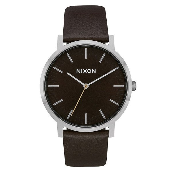 NIXON WATCH PORTER LEATHER DARK CEDAR DARK BROWN