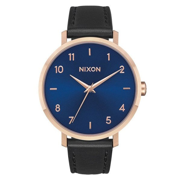 NIXON WATCH ARROW LEATHER ROSE GOLD INDIGO BLACK