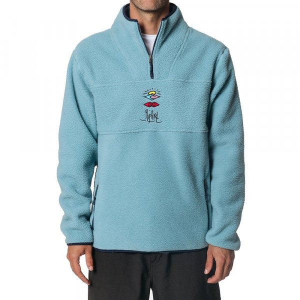RIP CURL HOOD BELLS POLAR Z/T CREW LIGHT BLUE S19