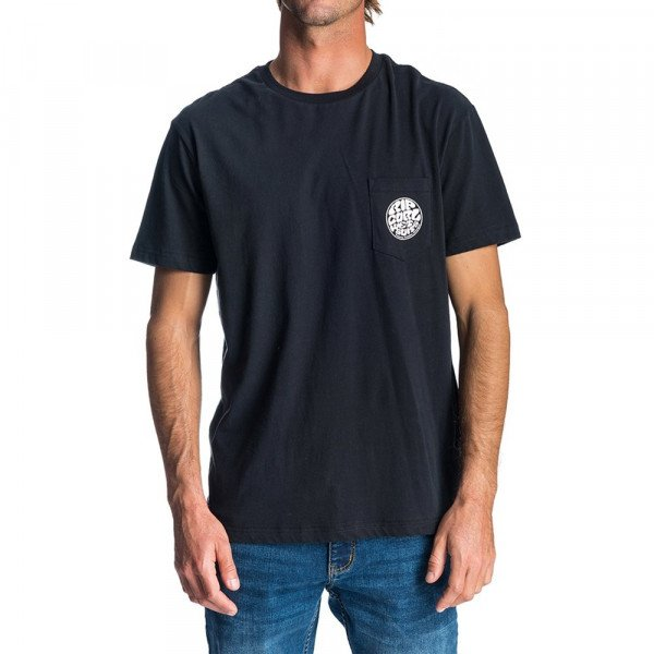 RIP CURL T-SHIRT ORIGINAL WETTY SS POCKET TEE BLACK S19