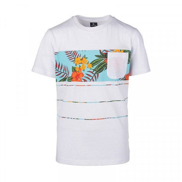 RIP CURL T-SHIRT SQUAD BLOCK SS KIDS OPTICAL WHITE S19