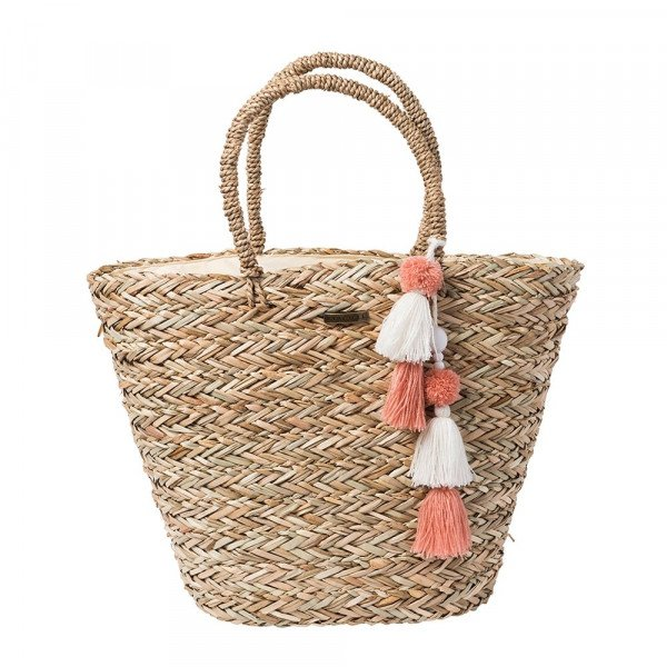 RIP CURL SOMA SHORELINES STRAW BEACHBAG NATURAL