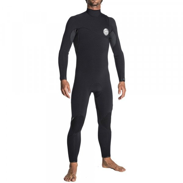 RIP CURL WETSUIT FLASH BOMB 43 GB ZIP FREE BLACK GREY S19