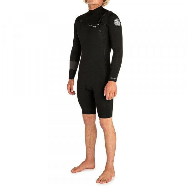RIP CURL HIDROTĒRPS AGGRO L/SL 22 GB CHEST ZIP BLACK S19