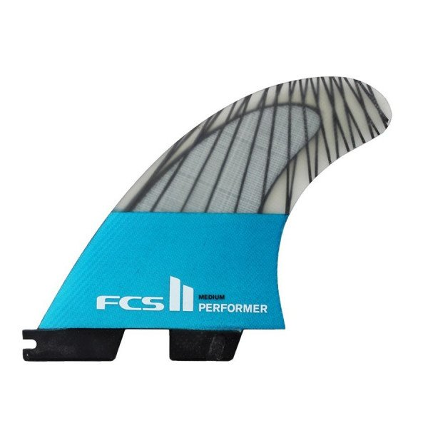 FCS FINS II PERFORMER PC CARBON TEAL MEDIUM TRI