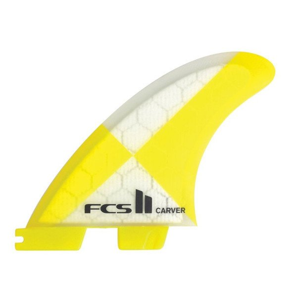 FCS FINS II CARVER PC CARBON YELLOW LARGE TRI