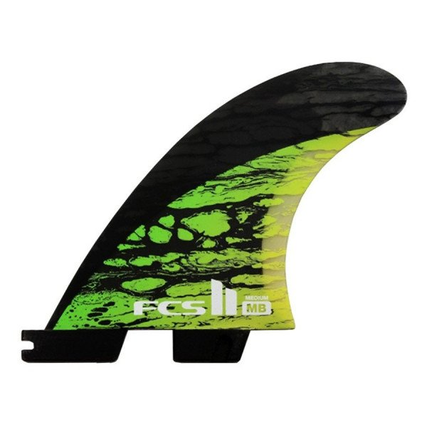 FCS FINS II MB PC CARBON GREEN MEDIUM TRI-QUAD