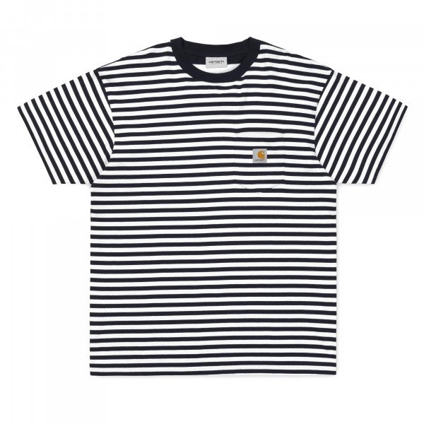 CARHARTT T-SHIRT S/S BARKLEY POCKET T-SHIRT STRIPE DARK NAVY S19