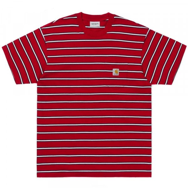 CARHARTT T-SHIRT S/S HOUSTON POCKET T-SHIRT STRIPE CARDINAL S19