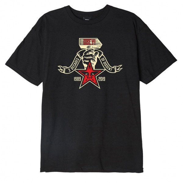 OBEY T-SHIRT OBEY 3 DECADES OF DISSENT BLK F19