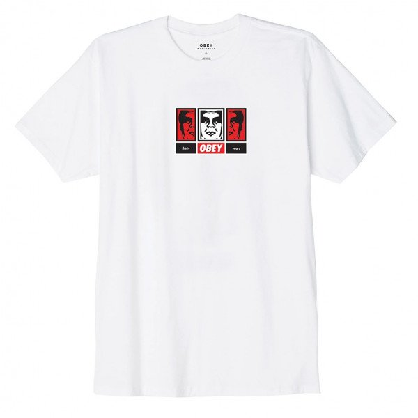 OBEY T-SHIRT OBEY 3 FACES 30 YEARS WHT F19