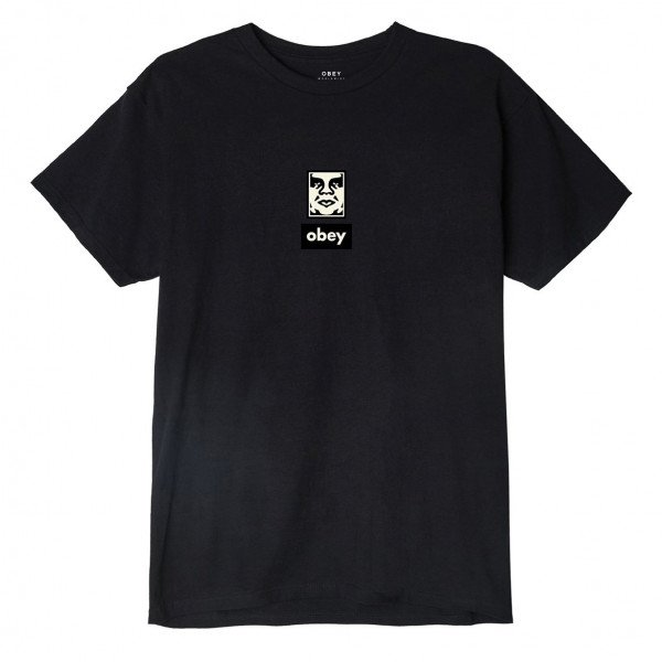 OBEY T-SHIRT OBEY ICON FACE 30 YEARS W BLK S19