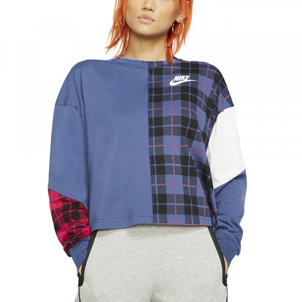 NIKE SHIRT NSW TOP LS PLAID W NAVY F19