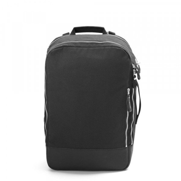 QWSTION SOMA BACKPACK BLACK LEATHER CANVAS