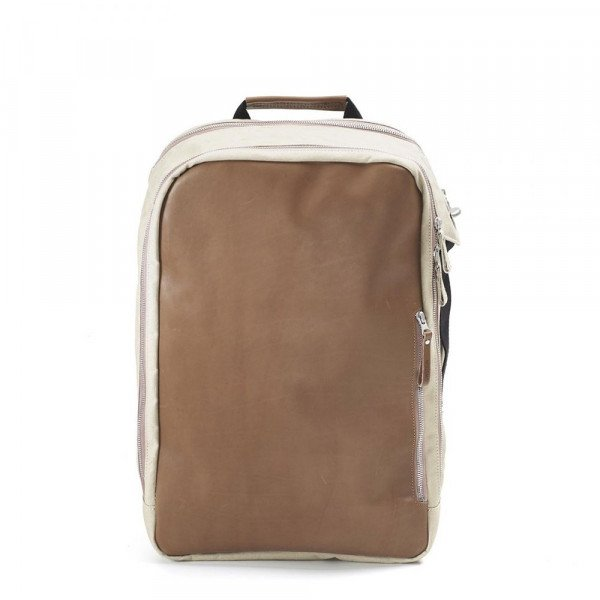 QWSTION BACKPACK BACKPACK BROWN LEATHER CANVAS