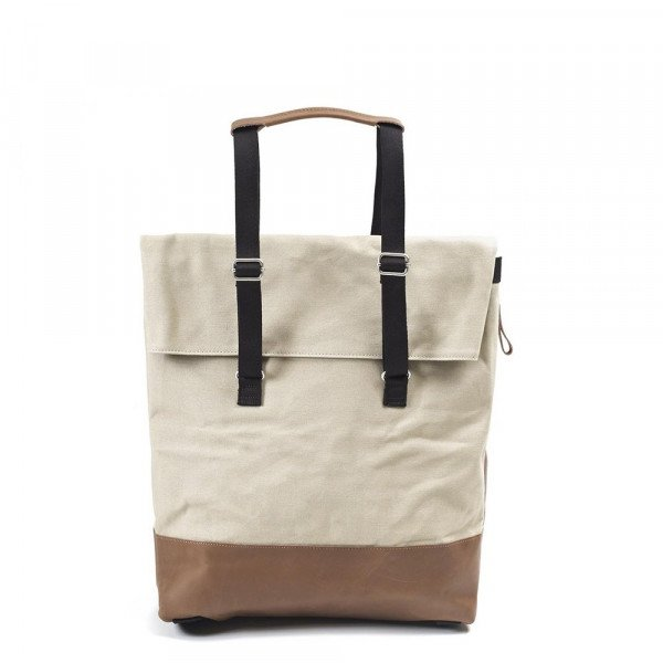 QWSTION BACKPACK DAY TOTE BROWN LEATHER CANVAS