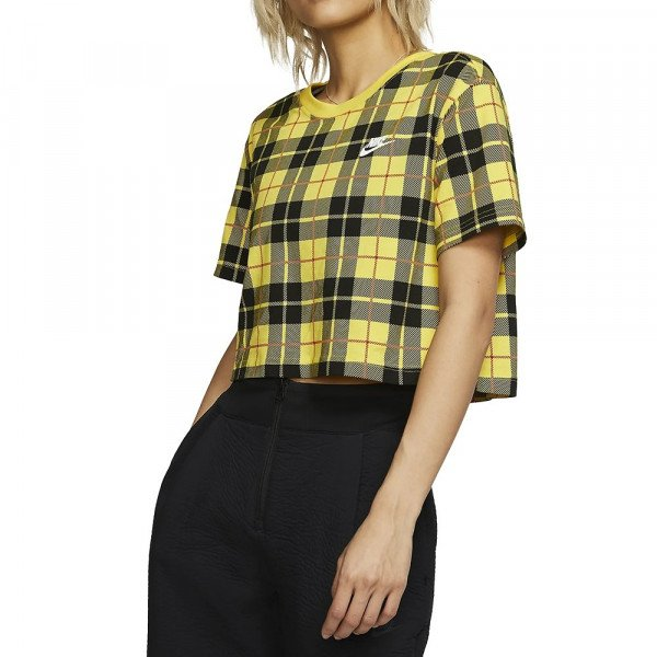 NIKE T-SHIRT NSW TEE FUTURA PLAID CROP YELLOW BLACK F19