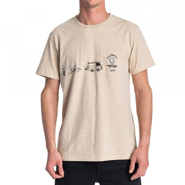 RIP CURL T-SHIRT PICTOGRAMS S/S TEE CEMENT MARLE F19