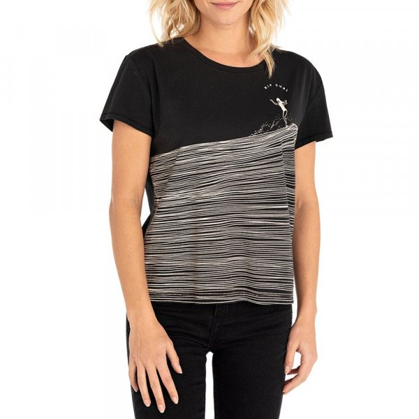 RIP CURL T-SHIRT MINIMALIST WAVE CR BLACK F19