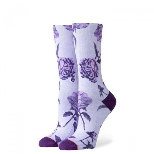 STANCE ZEĶES FOUNDATION WOMEN REBEL ROSE CREW PURPLE