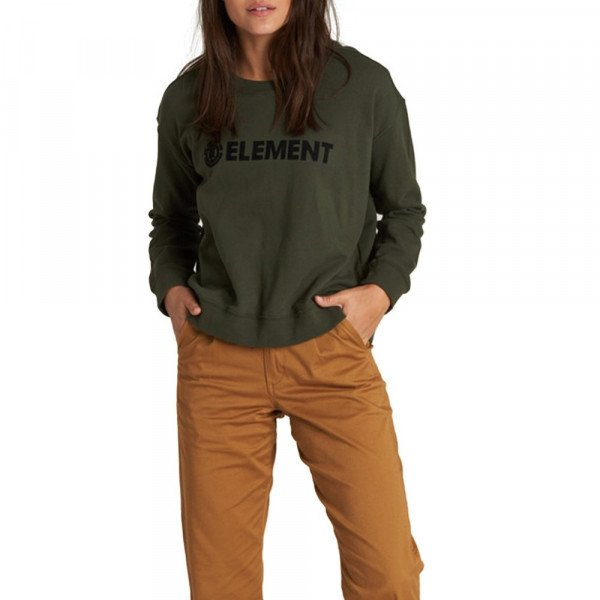 ELEMENT HOOD LOGO CREW FLEECE OLIVE DRAB F19