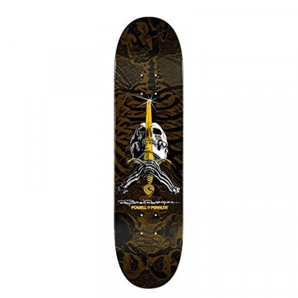 POWELL PERALTA DECK RAY RODRIGUEZ SKULL & SWORD PASTEL BROWN 9