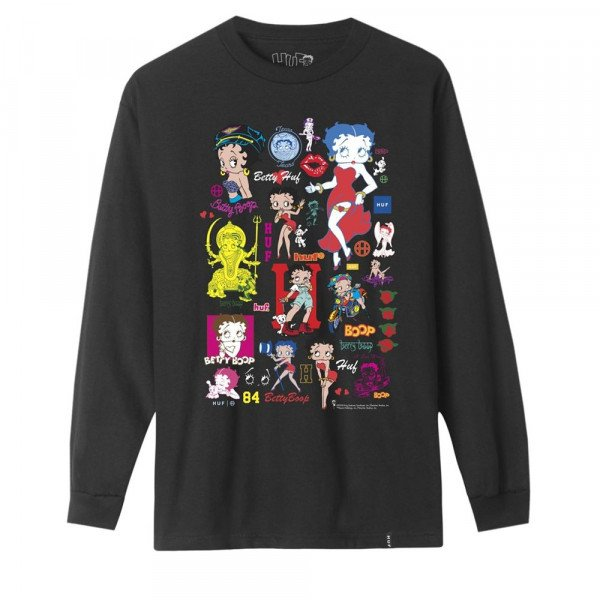 HUF T-SHIRT BETTY BOOP DECALS LONGSLEEVE BLACK F19